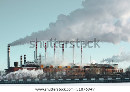 Whole plant with smoke and blue sky