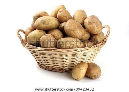 whole potatoes in the basket