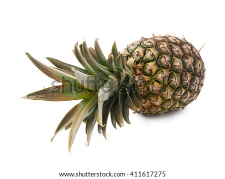 Whole raw fresh pineapple isolated over white background