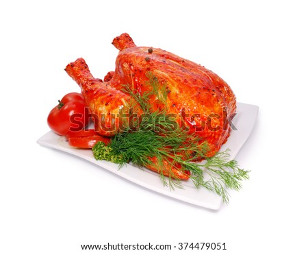 Whole raw marinated chicken with dill and fresh tomatoes isolated against white  - stock photo