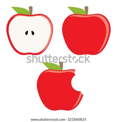 Whole red apple, half apple and bitten apple raster set, fresh fruit, healthy food - stock photo