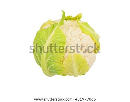 Whole ripe cauliflower, isolated on white background - stock photo