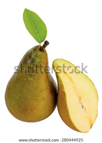 Whole ripe pear and sliced half isolated on white        - stock photo