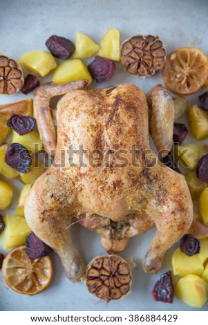 whole roasted chicken - stock photo