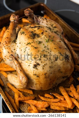 Whole Roasted Chicken on Metal Sheet with Sweet Potato Fries - stock photo