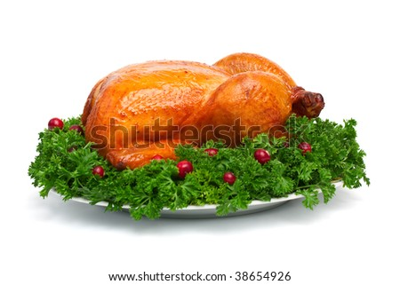 whole roasted chicken with parsley and cranberries - stock photo