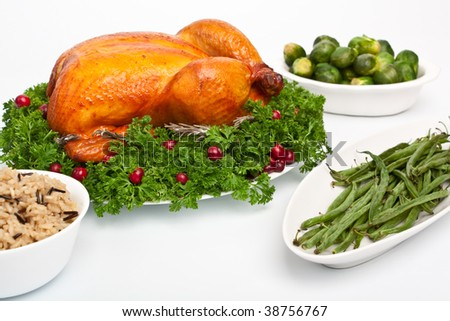 whole roasted chicken with parsley and cranberries on a dish, rice, green beans and Brussels sprouts - stock photo
