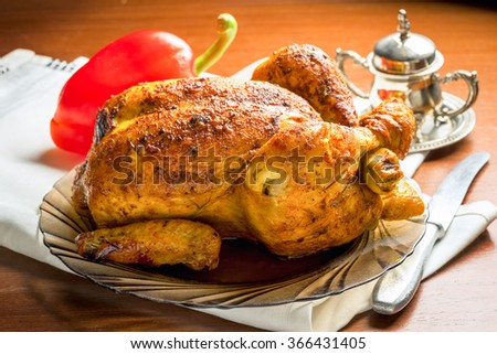 whole roasted grilled chicken - stock photo