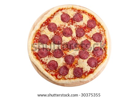 whole salami pizza on white background
