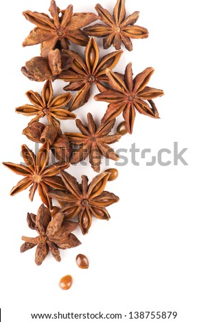 Whole Star Anise isolated on white background with shadow - stock photo