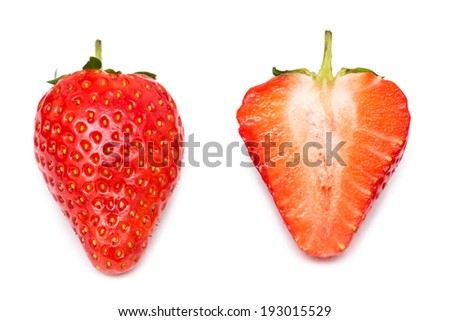 Whole Strawberry And Strawberry Slice Isolated - stock photo