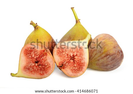Whole three Fig fruits and one cut half isolated on white background - stock photo