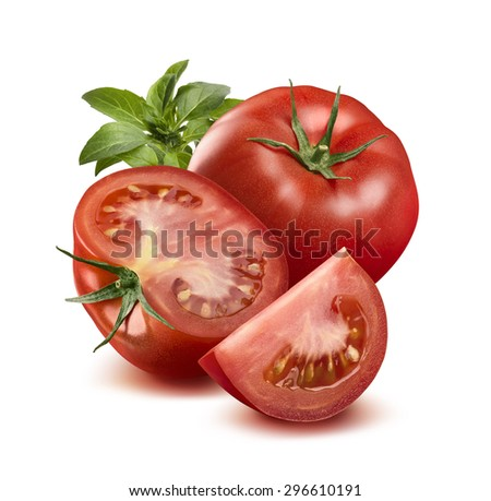 Whole tomato, half, quarter and basil leaves isolated on white background as package design element