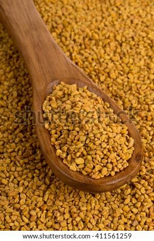 Whole unprocessed fenugreek (Trigonella foenum-graecumcumin) seeds in wooden scoop on fenugreek seed background - stock photo