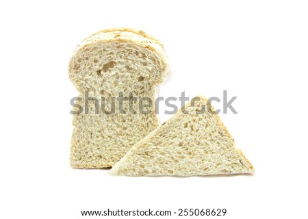 Whole wheat and oat bread sandwich raw ingredient on white background - stock photo