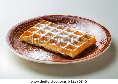 Whole wheat Belgium waffle horizontal view