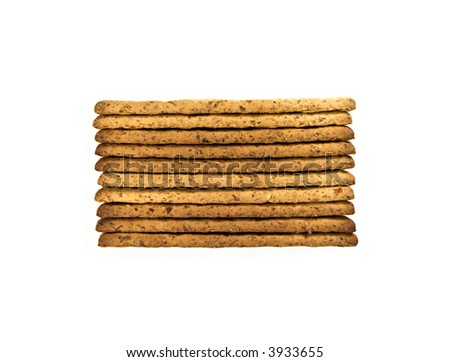 whole wheat biscuits isolated on white