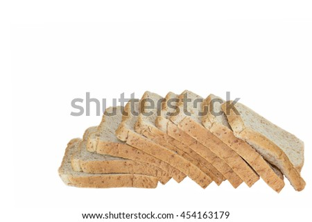 Whole Wheat Bread isolated on white background with copy space
