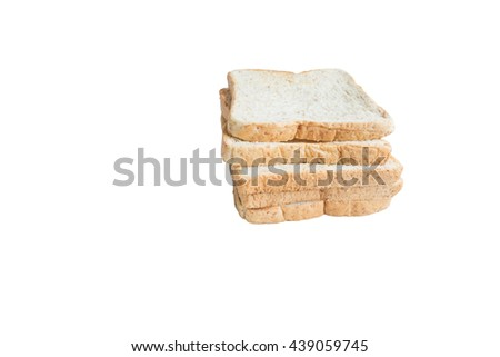 Whole wheat bread on white background,meal or breakfast - stock photo