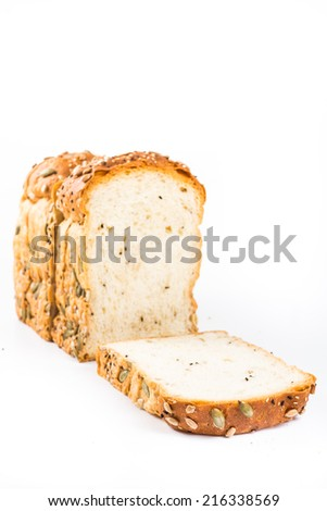 whole wheat bread on white isolated