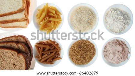 Whole Wheat Bread, Pasta, Flour and Brown Rice Vs. White Flour and Rice Products, Isolated, White - stock photo