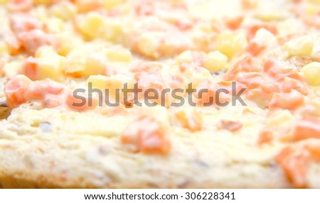 whole wheat bread with cereal mayonnaise :selective focus and with a very shallow depth of field - stock photo