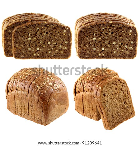 Whole wheat brown bread, also called Multi grain, and Wholemeal Rye Bread isolated on white background - stock photo