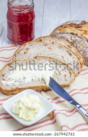 Whole wheat nut bread with cream cheese - stock photo