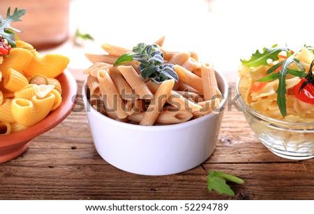 Whole wheat pasta   - stock photo
