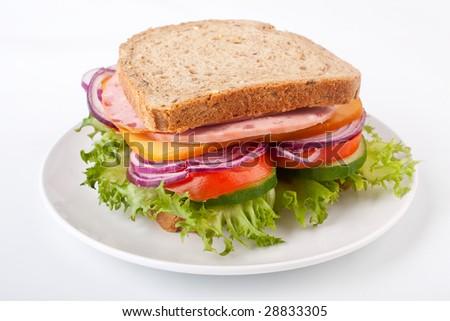 whole wheat sandwich - stock photo