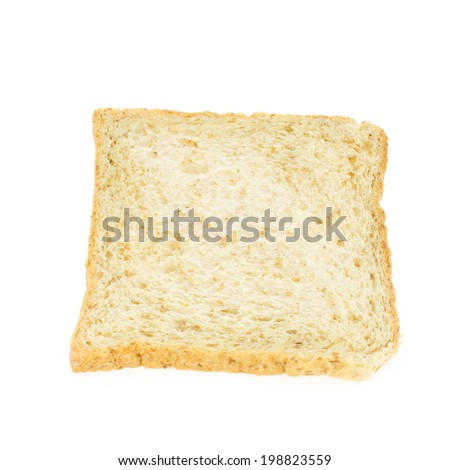 Whole wheat sliced isolated on white background,top view