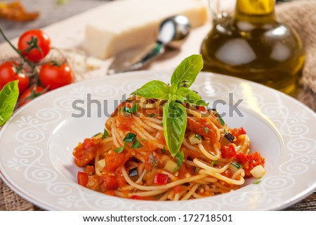 Whole Wheat Spaghetti with Tomato Sauce   - stock photo