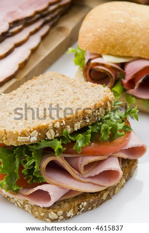 wholemeal bread and ham sandwich still life - stock photo