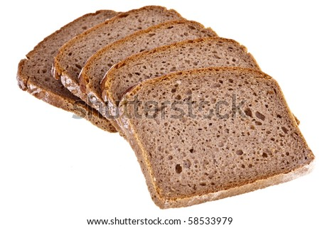 wholemeal bread, completely isolated on white background - stock photo