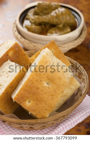 Wholemeal Bread with Malayan Chicken Curry in Background - stock photo