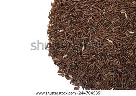 wholemeal brown rice grains on white background