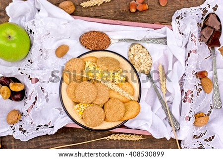 Wholemeal cookies - biscuits - stock photo