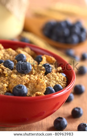 Wholewheat flakes with fresh blueberries with a glass of yogurt and blueberries in the back (Selective Focus, Focus on the blueberry in the middle of the bowl) - stock photo