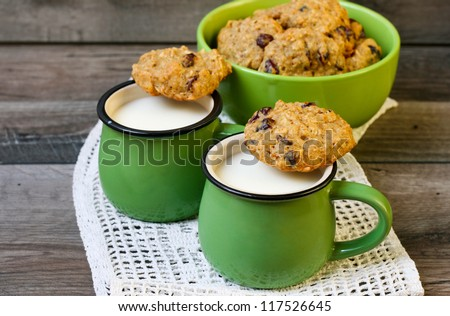 Wholewheat quinoa almond cookies with cranberry - stock photo