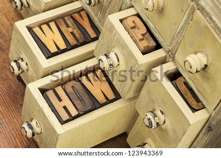 why and how questions -  vintage letterpress wood type blocks and primitive rustic wooden apothecary drawer cabinet - stock photo