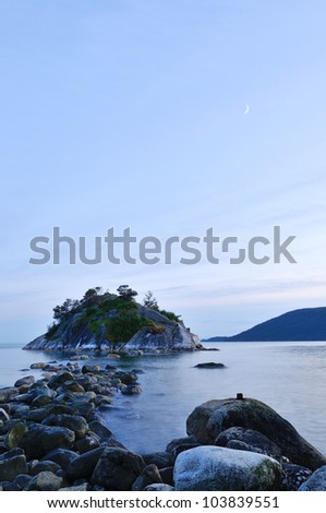 whytecliff park in west vancouver at sunset - stock photo