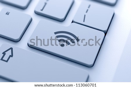 WI-FI button on keyboard with soft focus - stock photo