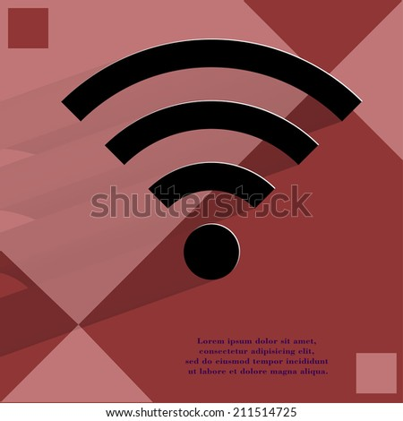 WI-FI. Flat modern web button with long shadow and space for your text. . - stock photo
