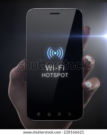 Wi-fi hotspot concept on black screen - stock photo