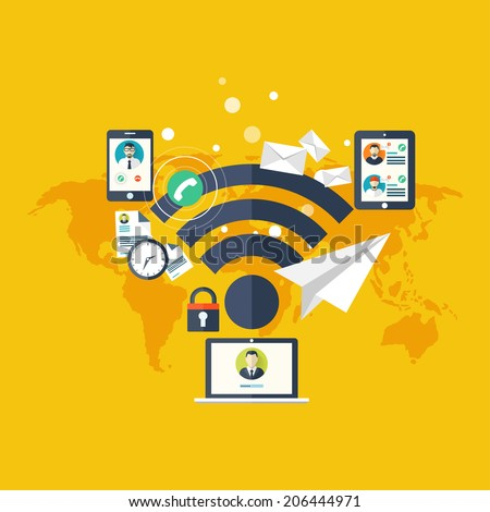 Wi fi icon.Cloud computing. Social media, network concept. Global communication. - stock photo