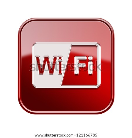 WI-FI icon glossy red, isolated on white background - stock photo