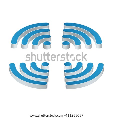 Wi-Fi isometric Icon. Set of four wifi icons for business or commercial use. Flat 3d vector illustration. Free wifi zone. Public free Wi-Fi hotspot zone wireless connection. - stock photo
