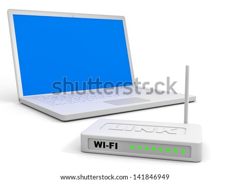 Wi-Fi router and laptop on white background. 3D illustration.