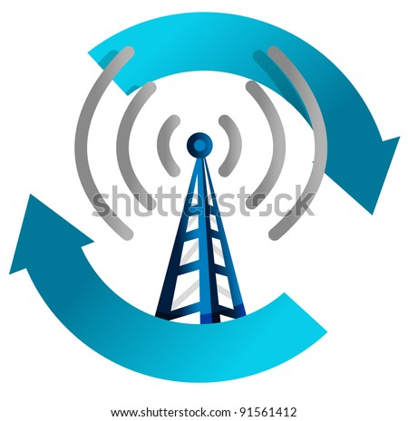 wi fi tower cycle illustration design on white