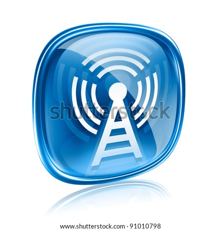 WI-FI tower icon blue glass, isolated on white background - stock photo